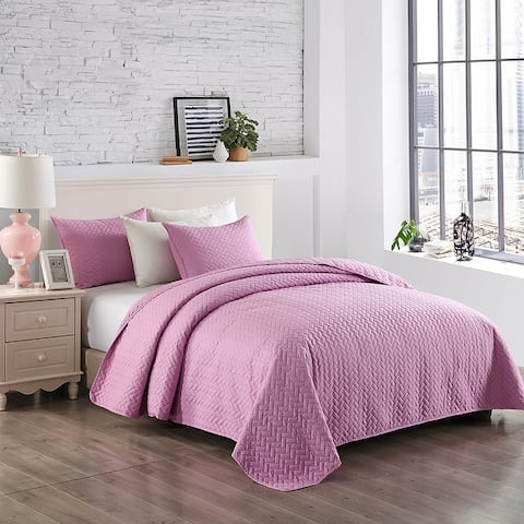 Basket Stitched Bedspread/Coverlet Set Ultra Soft Microfiber Lightweight Quilt