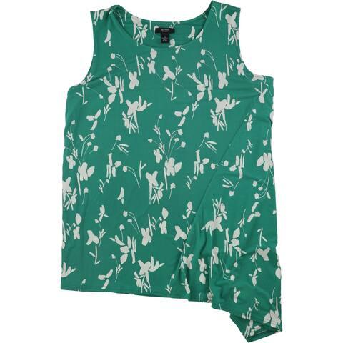 Alfani Womens Asymmetrical Hem Sleeveless Blouse Top, green, 3X