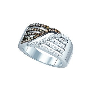 1/2Ctw Cognac Diamond Bridal Engagement Ring 10K White-Gold