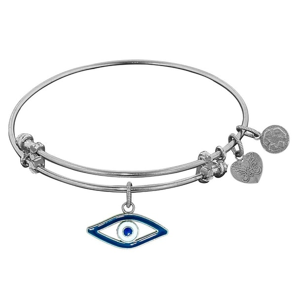 "Angelica Collection Non-antique Stipple Finish Brass Enamel ""Evil Eye"" Expandable Bangle"