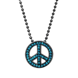 Crystaluxe Peace Pendant with Indicolite Swarovski Crystals in Oxidized Sterling Silver - Blue