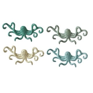 Set of 4 Multi Color Cast Iron Decorative Octopus Shaped Wall Hooks 9.8