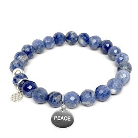 Lucy Blue Sodalite Peace Charm Stretch Bracelet, Sterling Silver
