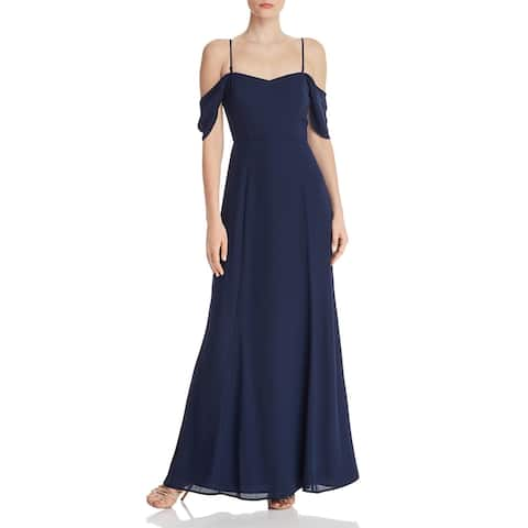 WAYF Womens Rachel Evening Dress Off-The-Shoulder A-Line - Navy