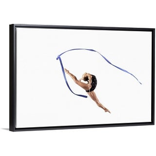 """Female Athlete Jumping Gracefully Mid Air With a Ribbon"" Black Float Frame Canvas Art"