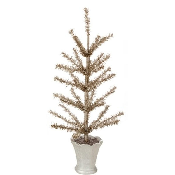 "12.75"" Winter Light Gilded Grey Artificial Christmas Tinsel Tree in Glittered Silver Pot - Unlit"