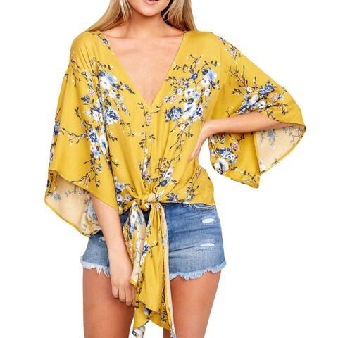 Yellow Lily Khimono Blouse - Mustard