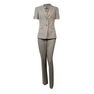 Tahari Women's Montreal Muse Pintucked Short Sleeves Pant Suit