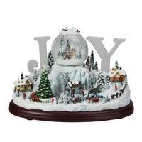 "10.5"" Musical and Animated LED Acrylic ""Joy"" Christmas Village Tabletop Decoration - WHITE"