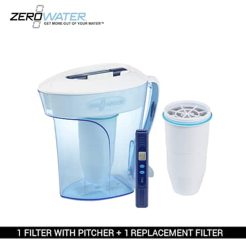 Zero Water 10-Cup Ion Exchange Water Dispenser Pitcher & 1 Replacement Filter Combo