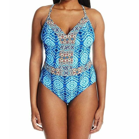 Bleu Rod Beattie Blue Women's Size 18W Plus One-Piece Geo Swimwear