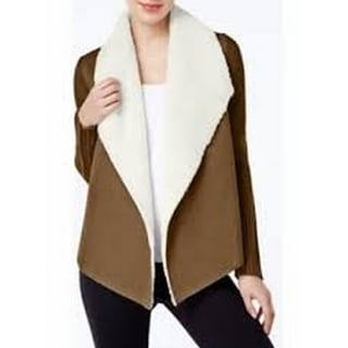 Grace Elements NEW Brown Womens Small S Faux Shearling Cardigan Sweater