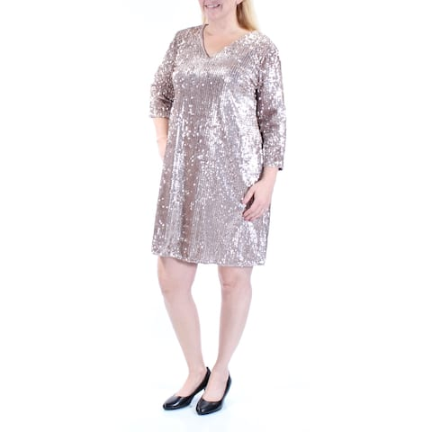 ALFANI Womens Gold 3/4 Sleeve Above The Knee Party Dress Size 14