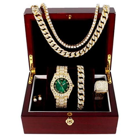Money Green Dial with Roman Numerals, Cuban Chain Bracelet, Necklace,Chain & Ring - ST10327CRNT