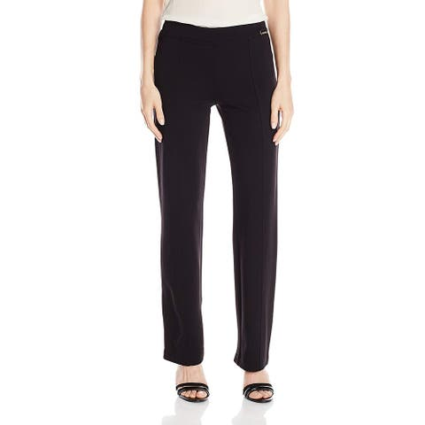 Calvin Klein Womens Madison Dress Pants Black XL Straight Leg Stretch