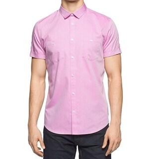 Calvin Klein NEW Pink Mens Size Large L Micro-Grid Button Down Shirt
