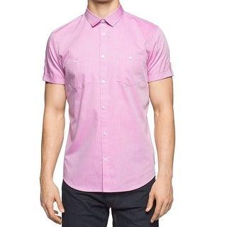 Calvin Klein NEW Pink Mens Size Medium M Micro-Grid Button Down Shirt