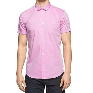 Calvin Klein NEW Pink Mens Size Small S Micro-Grid Button Down Shirt