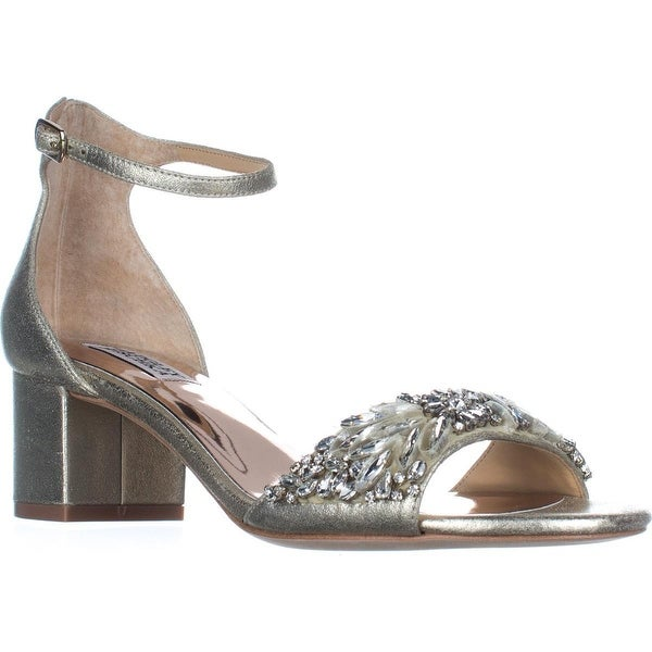 Badgley Mischka Tamara Low-Heel Dress Sandals, Platino - 8 us