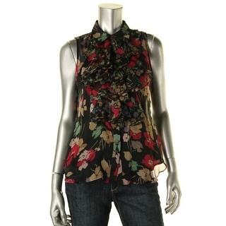 Lauren Ralph Lauren Womens Petites Floral Print Ruffled Blouse - 10P
