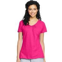 Hanes Women's Slub Jersey Shirred V-Neck - Size - XL - Color - Amaranth