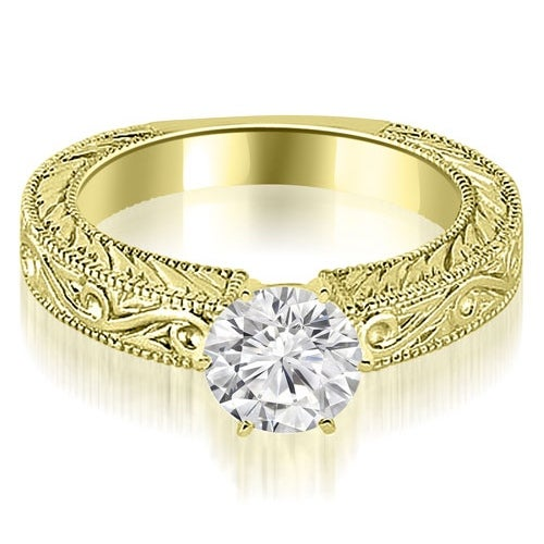 0.50 cttw. 14K Yellow Gold Antique Round Cut Diamond Engagement Ring