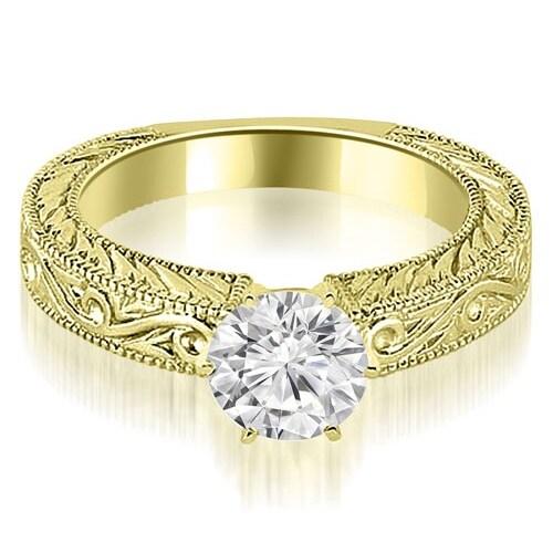 0.75 cttw. 14K Yellow Gold Antique Round Cut Diamond Engagement Ring