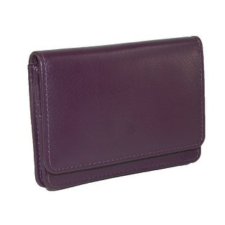 CTM® Women's Leather RFID Protected Card Case with Key Ring - One Size