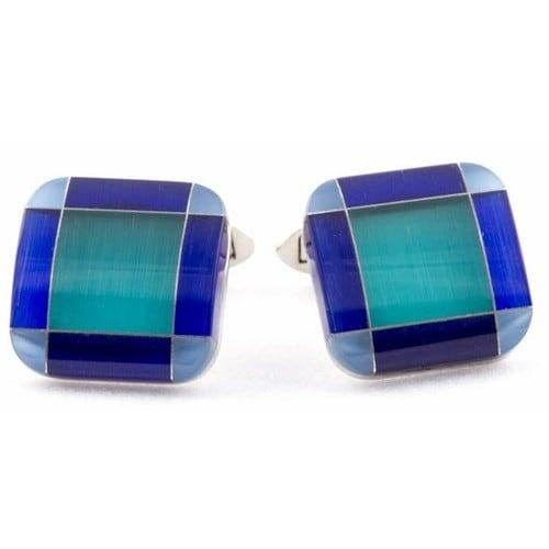 Multi Tone Blue Glass Cufflinks