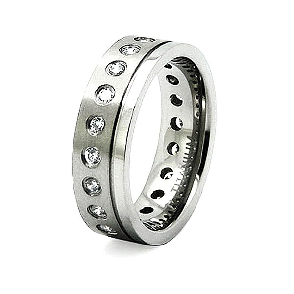 7mm Titanium Ring with CZ (Sizes 8-12)