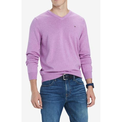 Tommy Hilfiger Mens Sweater Purple Size 2XL V-Neck Solid Ribbed Trim