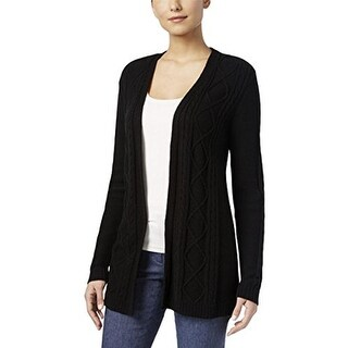 Karen Scott Womens Cable-Knit Cardigan Sweater deepblack - XL
