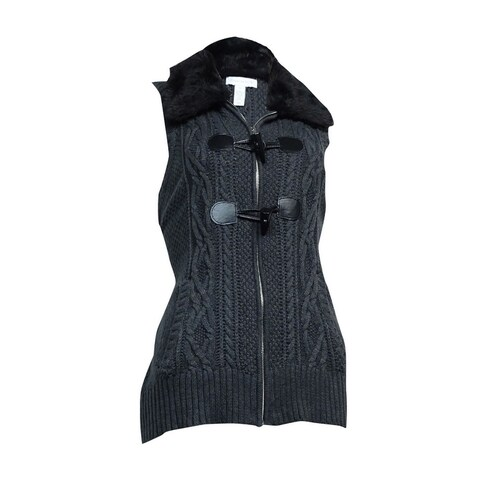 Charter Club Women's Faux Fur Toggle Knit Vest - Charcoal Heather - m