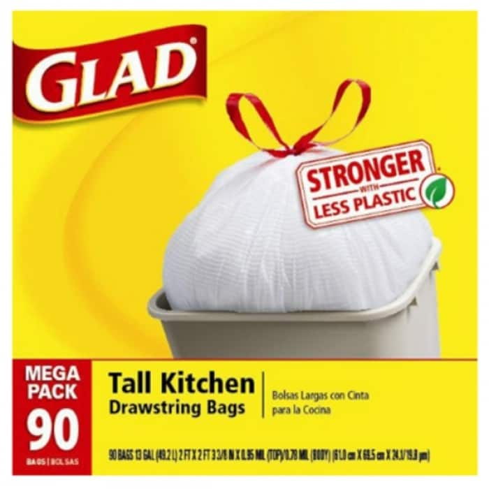 13 Gallon Glad Tall Kitchen Drawstring Trash Bags 360 Count 4 PACK 90 BAGS