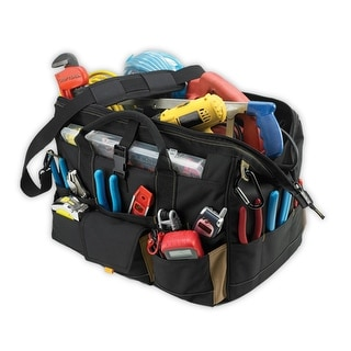 "CLC 1535 18"" Tool Bag With Top-Side Plastic Parts Tray, 37 Pockets"
