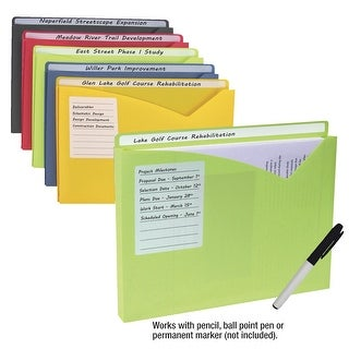 C-Line Write-On Poly File Jackets, Letter Size, Assorted Colors, Pack of 10