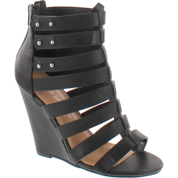 Wild Diva Women's Elisha19 Leatherette Gladiator Wedge Sandals