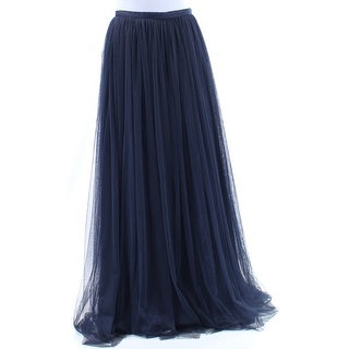 ADRIANNA PAPELL Womens New 1096 Navy Full-Length Accordion Pleat Skirt 8 B+B