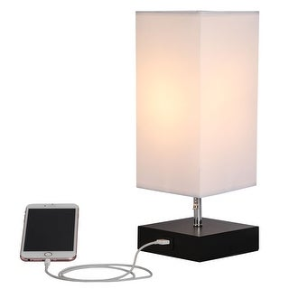 Link to CO-Z 13.5-inch Table Lamp with Solid Wood Base and USB Port Similar Items in Desk Lamps