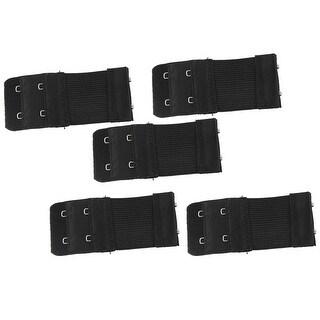 Unique Bargains 5 Pcs Black 2 x 2 Hooks Bra Elastic Extender Hook w Eye Tape