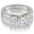2.85 cttw. 14K White Gold Channel Princess and Round Cut Diamond Bridal Set - Thumbnail 0