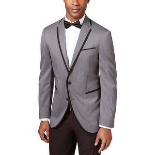 Kenneth Cole Reaction Mens Slim Fit Grey Micro Dot Evening Jacket 40 Regular 40R