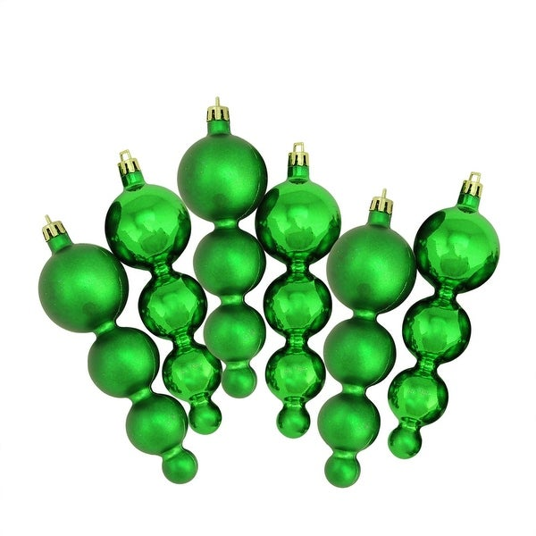 6ct Shiny and Matte Xmas Green Finial Shatterproof Christmas Ornaments 5.75""