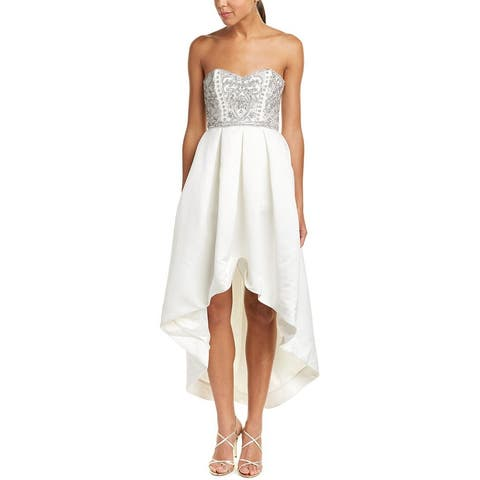 Parker Womens Gown White Size 4 Strapless Embellished Hi-Lo Pleated