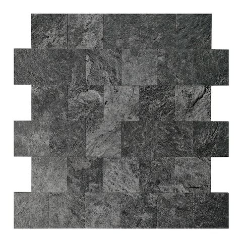 """Art3d 12""""x12"""" Peel and Stick Tiles (5-Pack) Faux Stone Material"""