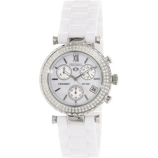 Precimax Women's Lily Elite Crystal PX13190 White Ceramic Dress Watch