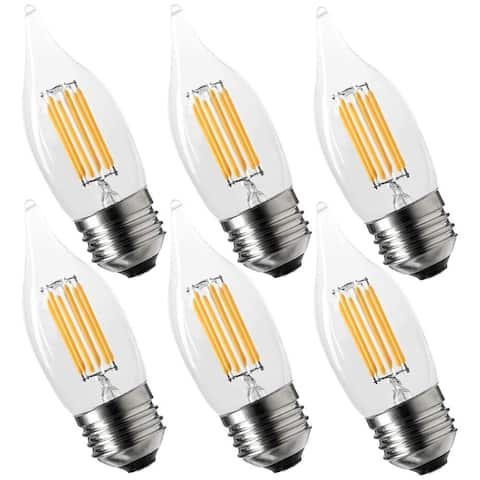 Luxrite 6W Vintage E26 Candelabra LED Bulbs, 650 Lumens, 60W Equivalent, Medium Base, Flame Tip Clear Glass (6 Pack)