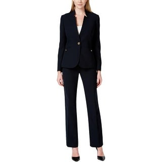 Tahari ASL Womens Louisa Pant Suit Crepe Epaulette Shoulders