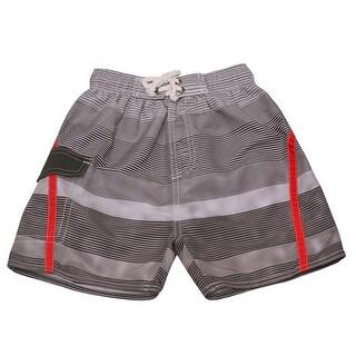 Quad Seven Boys Gray Ombre Striped Drawstring Tie Swim Trunks