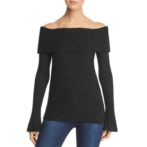 Design History Womens Sweater Metallic Off-The-Shoulder - Black